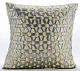 """Handmade Yellow Pillow Shams, 3D Metallic Sequins Lattice Trellis Pillow Sham, 24""""x24"""" Pillow Sham, Square Cotton Linen Shams, Modern Pillow Shams - Yellow Twist"""