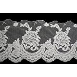 """Altotux 7.5"""" White Corded Pearl Beaded Sequins Scalloped Lace Trim by Yard"""