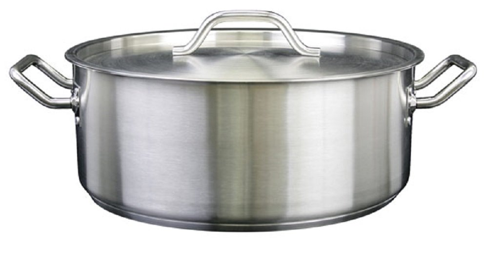 BRAZIER WITH LID 18/8 STAINLESS STEEL MULTIPLE SIZES 15 qt TO 30 qt PROFESSIONAL COOKWARE (30 qt)