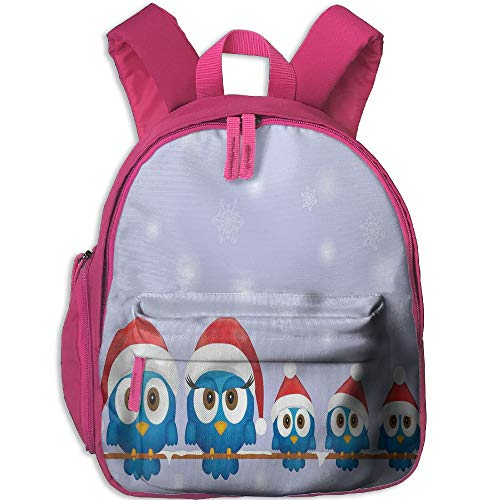 (Haixia Teen's Boys'&Girls' Backpack with Pocket Christmas Decorations Bird Family with Santa Hats On Electricity Wire Winter Holiday Humor Full Blue Red)