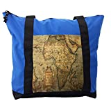 Lunarable Wanderlust Shoulder Bag, Map of the Africa Retro, Durable with Zipper