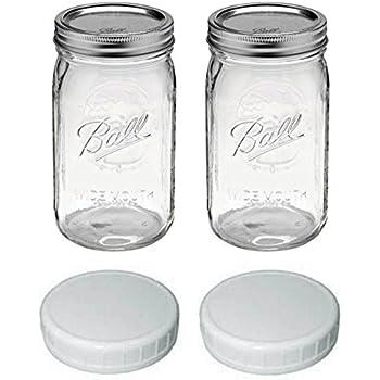 ball quart jar wide mouth set of 2 with 2 plastic lids kitchen dining. Black Bedroom Furniture Sets. Home Design Ideas