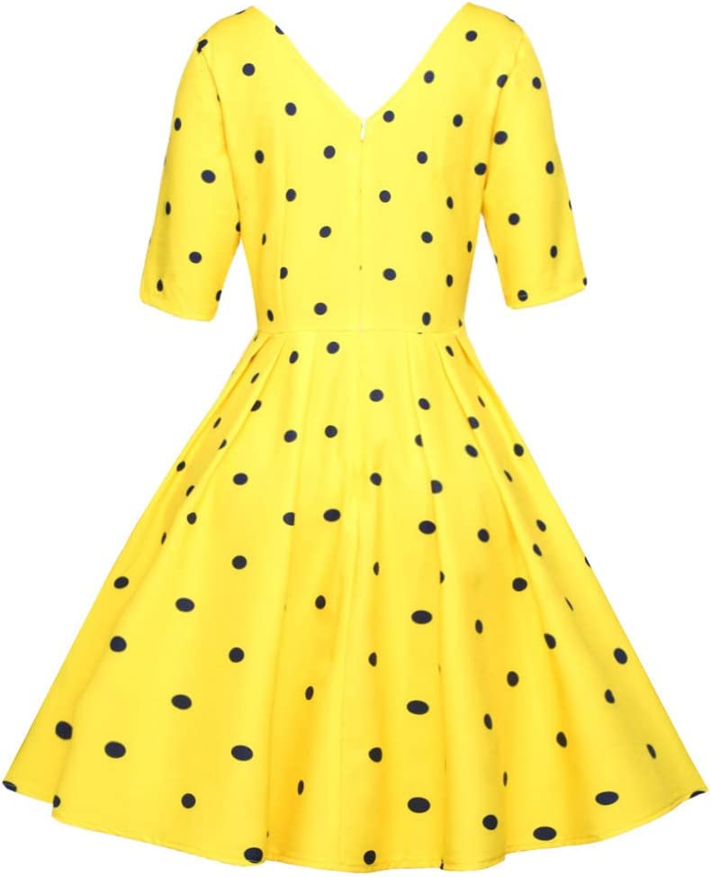 HZD Lace Women Elegant Vintage Dress Female Robe O Neck Short Sleeve A Line Party Women Retro Dress Yellow