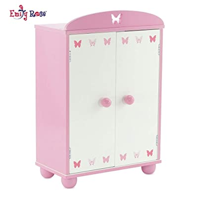 Emily Rose 14 Inch Doll Furniture | Beautiful Pink and White Doll Armoire Closet with Butterfly Detail Comes with 5 Notched Doll Clothes Hangers | Fits American Girl Wellie Wishers Dolls: Toys & Games