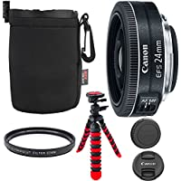 Canon EF-S 24mm f/2.8 STM Lens, Camera Lens, 12 Flexible Tripod, Ritz Gear Small Protective Pouch and Accessory Bundle
