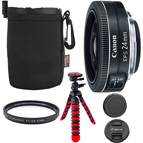Canon EF-S 24mm f/2.8 STM Lens, Camera Lens, 12″ Flexible Tripod, Ritz Gear Small Protective Pouch and Accessory Bundle