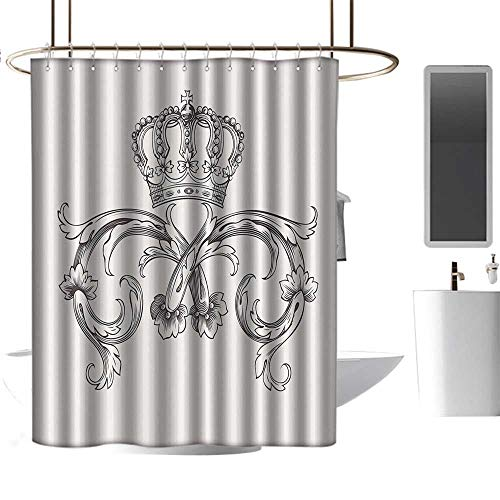 shower curtains for bathroom with zip out liner Medieval Decor Collection,Royal Crown Vintage Curves King Palace Ribbon Monochrome Retro Art,Cedar and White ,W48