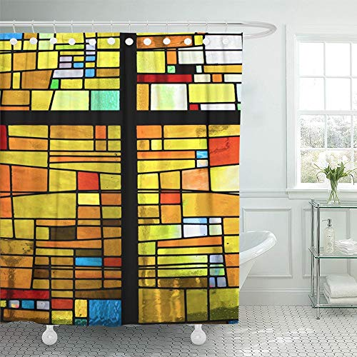 Emvency Shower Curtain Waterproof Decorative Bathroom 66 x 72 inches Blue Window Multicolored Stained Glass Pattern with Cross Black Mosaic Color Church Polyester Fabric Set with Hooks