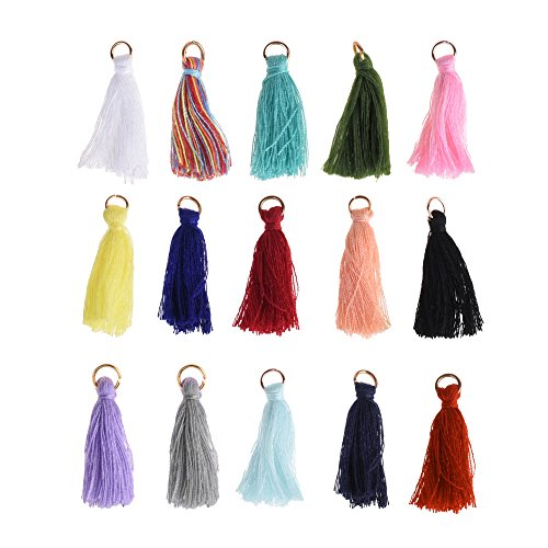 BCP 45PCS Mix Color Silky Handmade Tiny Soft Tassels with Golden Jump Ring for Earring DIY Jewelry Making Accessory