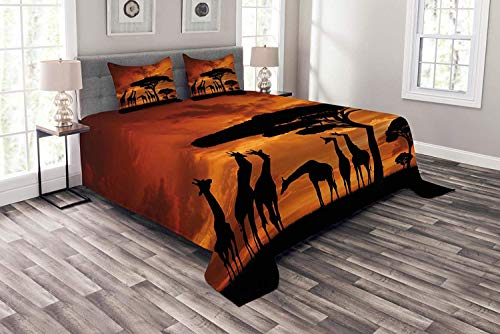 - Lohebhuic Africa Coverlet Set King Size, Safari Animal with Giraffe Crew with Majestic Tree at Sunrise in Kenya, Decorative Quilted 3 Piece Bedspread Set with 2 Pillow Shams, Burnt Orange and Black