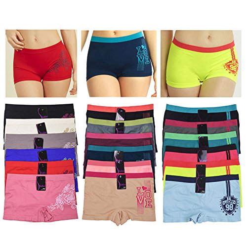 6 Sexy Seamless Boyshort Panties Women Underwear Briefs Boy Shorts One Size Fit