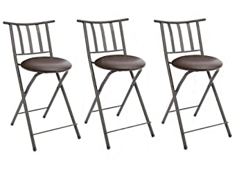 Excellent Mainstay Slat Back Folding 24 Counter Height Barstool Bronze Espresso Set Of 3 Free Furniture Cleaning Cloth Spiritservingveterans Wood Chair Design Ideas Spiritservingveteransorg