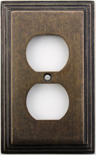 Classic Accents Deco Aged Antique Brass One Gang Duplex Outlet Wall Plate