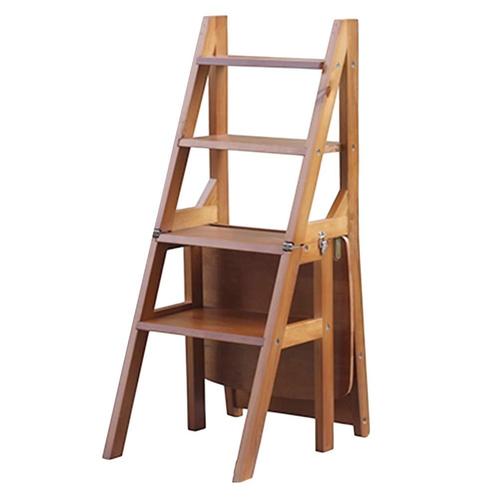 CAIJUN 折りたたみ椅子 多機能 無垢材 折りたたみ式 二重使用 防水 インストールする必要があります、 4段棚ラダー 3色 Dual-use (色 : A, サイズ さいず : 36x47x89cm) B07MR51C31 A 36x47x89cm