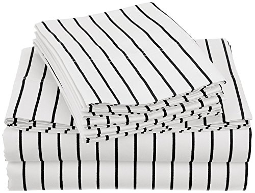 Cotton Blend 600 Thread Count, Deep pocket, Wrinkle Resistant 6-Piece King Bed Sheet Set with BONUS Pillowcases, Bahama Striped, White with Black Stripes - Luxury Cabana Sheet Sets