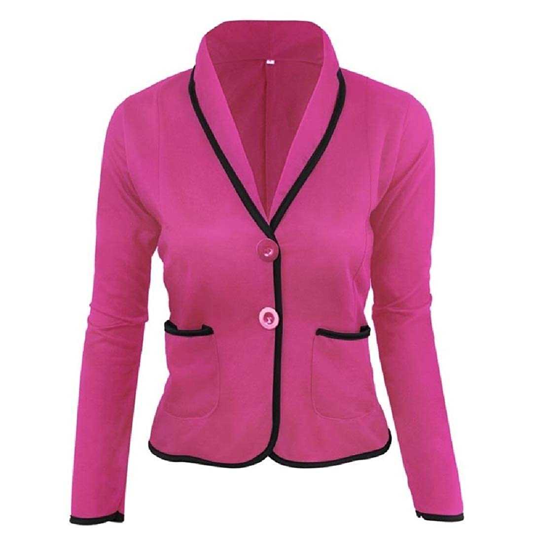 YUNY Women Outerwear Casual Performance Career Blazer Suit Coat Tops Rose red 5XL