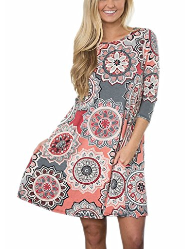 Womens 3 4 Sleeve Ethnic Printed Casual Midi Dress Crew Neck Floral Flowy Tunic Top Dress (S, Color01)