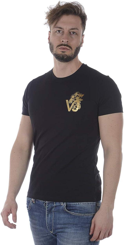 Men/'S T-Shirt B3GRA77F Black Print VJ Flow Slim MC Versace Jeans