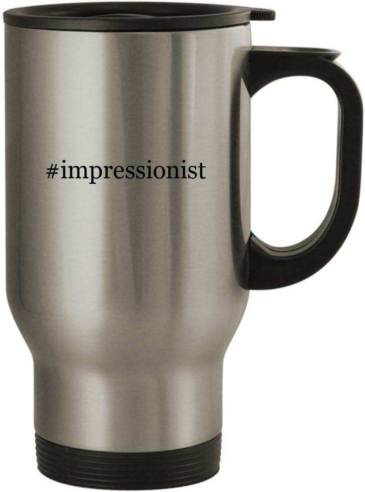#impressionist - 14oz Stainless Steel Travel Mug, Silver