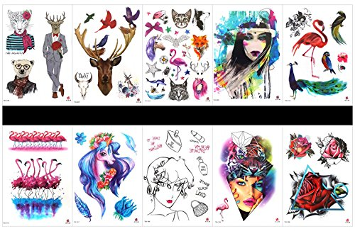 Grashine 10pcs tattoo peacock real fake tattoos in a packages,including Mr. Leopard,deer,animal Mr. Deer,Mr. bear,cartoon cute (Crane Rose)