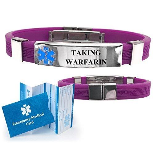 Taking Warfarin Designer Medical Alert ID Bracelet. Choose Color