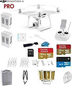 DJI Phantom 4 Quadcopter Drone Bundle with 4K Video, Everything You Need Kit, 2 Total DJI Batteries, SanDisk 32GB Micro SDXC Card, Snap on Prop Guards, Card Reader 3.0, Carry Strap System and Accessories