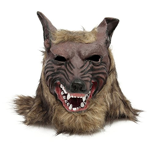 Latex Wolf Head Hair Mask Scary Werewolf Costume for Party Halloween Cosplay (Werewolf Outfits Halloween)