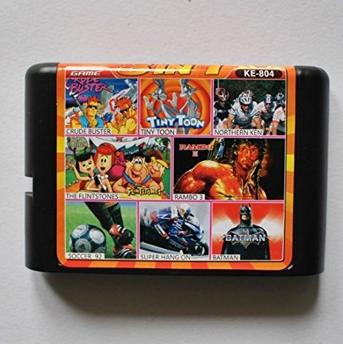 Taka Co 16 Bit Sega MD Game Crude Buster/ Tiny toon/ Northern Ken/ Flintstones/ Rambo 3/Batman 8-In-1 16 bit MD Game Card For Sega 16bit Game Player
