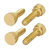 uxcell 1/4-20 UNC Aluminum Shoulder Type Knurled Head Thumb Screws Gold Tone 4pcs