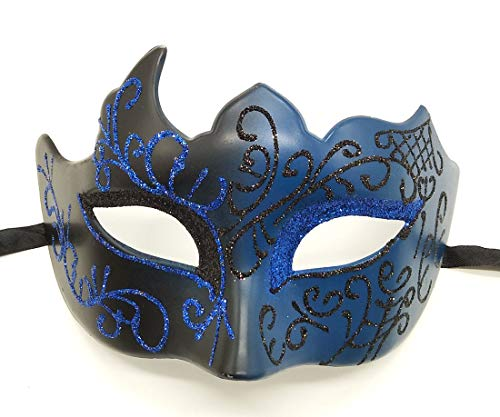 Rehoty Masquerade Masks for Men Vintage Venetian Mardi Gras Halloween Christmas Party Masks (Blue) ()