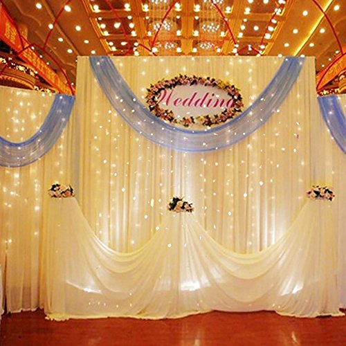 ZSTBT 300LED Linkable Window Curtain Icicle Fairy String Lights For Christmas Wedding Patio Lawn and Garden Decoration (Warm White)