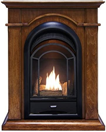 ProCom Ventless Gas Fireplace Dual Fuel Vent Free Mantel Included-Toasted Almond Finish-15,000 BTU PCS150T-A-TA