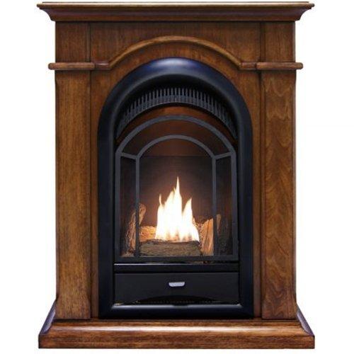Procom Vent (ProCom Dual Fuel, Vent-Free Fireplace - 15,000 BTU, Walnut Finish, Model# PCS150T-A-W)
