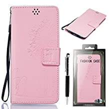 """LG G3 Case, SsHhUu Luxury Stylish [Dandelion Embossing] Magnetic Stand Card Slot PU Leather Flip Protective Wallet Slim Cover Case + Stylus Pen for LG G3 D855 D852 (5.5"""") Pink"""