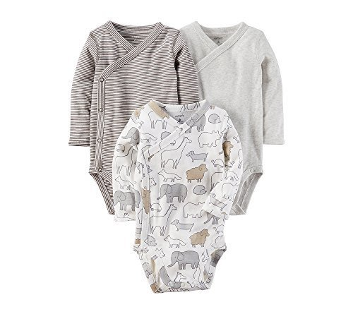 Carter's Baby 3-Pack Side Snap Printed Bodysuits 3 Months,Gray -