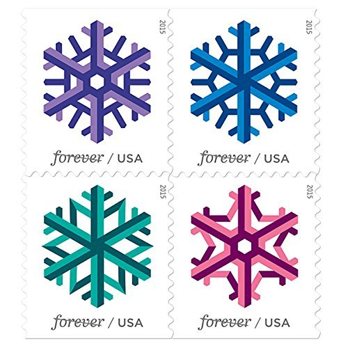 (USPS Geometric Snowflakes Forever Stamps, Book of 20 )