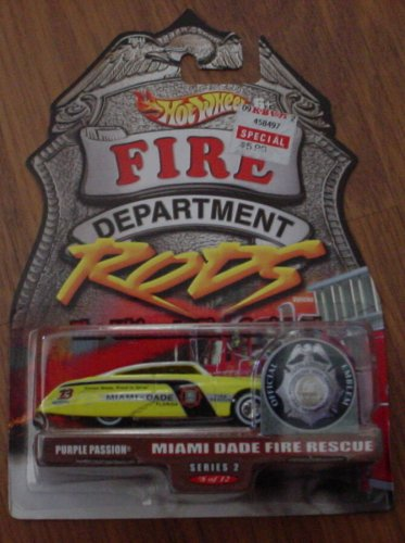 Hot Wheels Fire Department Rods Series 2 #8 8/12 Miami Dade Fire Rescue Purple Passion Hot Wheels Fire Rods