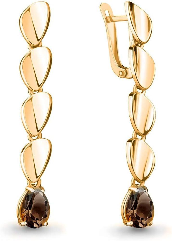 Mirkada - Pendientes de plata para mujer, bañados en oro con cuarzo ahumado, color marrón