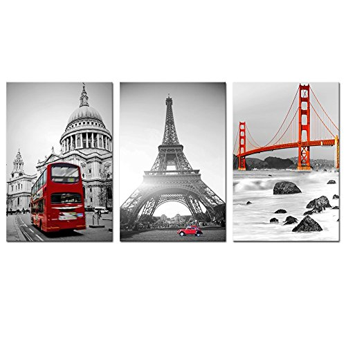 Sea Charm - Cityscape Canvas Wall Art,Classic Golden Gate Bridge Eiffel Tower London Red Bus Photo Picture Print on Canvas Art Print for Home Office Decor,Each Piece 16