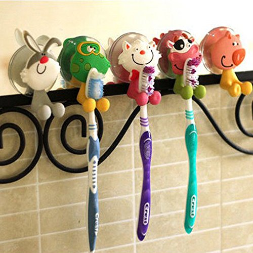 Creative Cute Cartoon Animals Toothbrush Holder Cover with Suction Cup 5 Packs