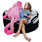 2-Sizes In-1 XXL Expandable Child's Stuffed Animal Storage Bean Bag Chair: Smart Wallaby Zippered Pouf for Soft Toys, Clothes, Blankets, Etc in 4 Stylish Designs
