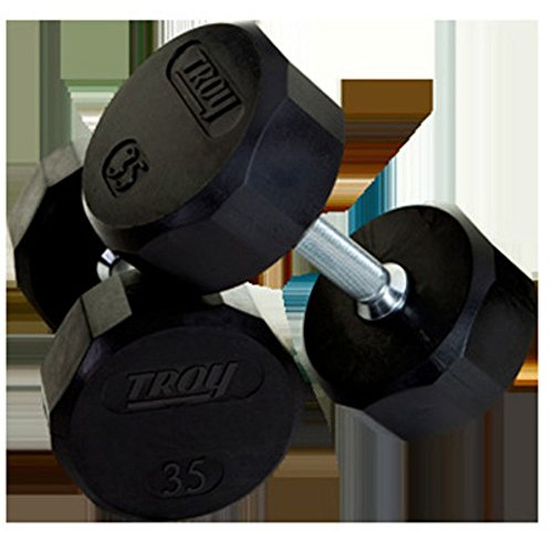 Troy 50lb 12-Sided Rubber Encased Dumbbell