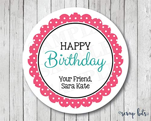 Moira Happy Birthday Stickers Personalized Polka Dot Scallop Happy Birthday Tags Birthday Labels