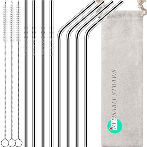 - Antonki Reusable Straws, 8 Pack Stainless Steel Straws 10.5 Inch Ultra Long Rustproof Metal Drinking Straws with 3 Pack Long Cleaning Brush & Pouch for 30 OZ Tall Tumblers Cold Beverage