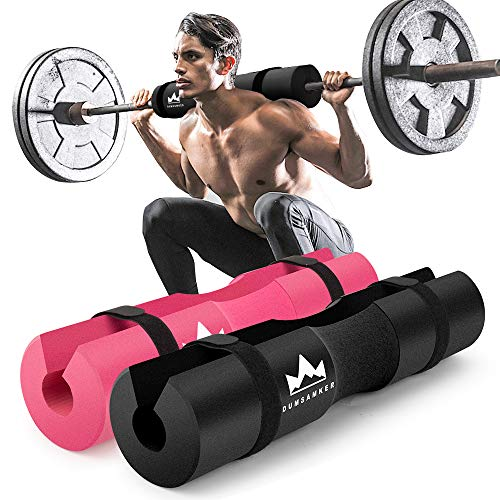 Dumsamker 【2019 Upgraded】 Barbell Pad Squat Pad for Lunges, Squats, and Hip Thrusts Foam Sponge Pad - Provides Relief to Neck and Shoulders While Training