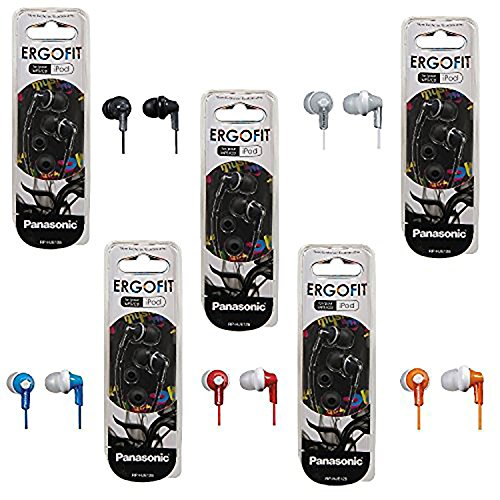 Panasonic ErgoFit In-Ear Earbud Headphones - 5 Pack (Assorted Colors) from Panasonic