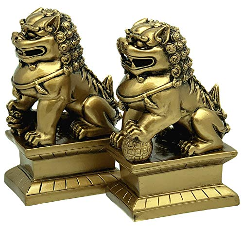Betterdecor Feng Shui Foo Fu Dogs Imperial Guardian Lion Statues Home Office Decor to Ward Off Negative Energy( Wth Gift Bag) (Statue Lion Chinese Sale For)