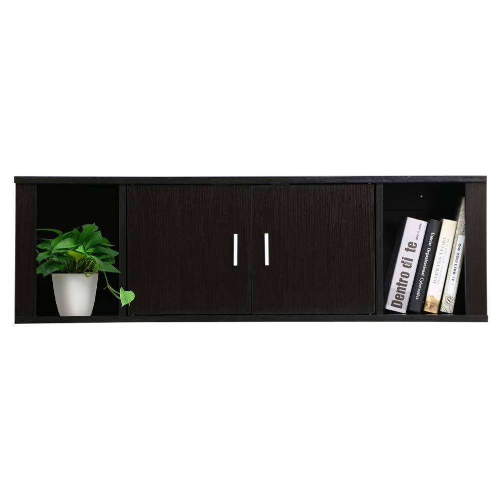 Yaheetech Wall Mounted TV Media Console Floating TV Stand Storage Cabinet Hutch for Home Office Black by Yaheetech