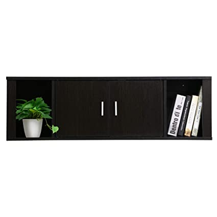 Amazon Com Yaheetech Wall Mounted Tv Media Console Floating Tv Stand Storage Cabinet Hutch For Home Office Black Kitchen Dining