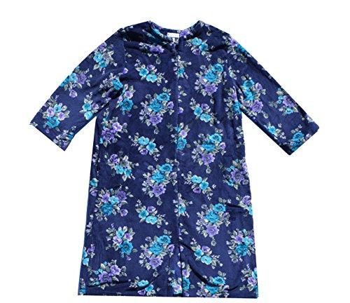 Miss Elaine Women's Fleece Long Zip Robe (Small, Blue)